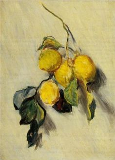 Branch of Lemons ~ Claude Monet. We seldom see still life works by Monet, but this one shares his impressionist's view of a simple subject. Claude Monet, Monet Paintings, Impressionist Paintings, Artist Monet, Wal Art, Manet, Oil Painting Reproductions, Wassily Kandinsky, Renoir