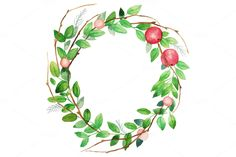 Apple wreath by Eisfrei on Creative Market
