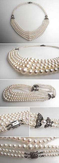 Vintage Mikimoto Pearl Strand Necklace Mill Grain & Engraved Silver. This magnificent vintage Mikimoto designer pearl necklace features graduated pear strands accented by solid sterling silver stations and intricately detailed clasp. The Mikimoto insignia is on the back of the locking box style clasp. Via Era Gem.