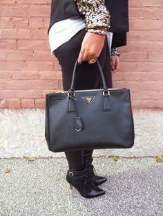 Prada Saffiano Lux Double-Zip Handbag