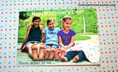 Sometimes even the worst pictures can work for special photo cards if you look for the humor!  See how I took this disastrous photo session and still created some fun cards for Mother's Day!  #cards #harvardhomemaker