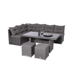 Lapa lounge dining set e.grey - incl. 2 krukjes