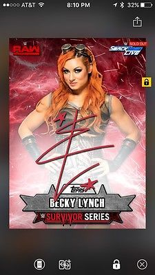 Topps Slam Becky Lynch Survivor Series Lot Of Two Signature Digital Cards