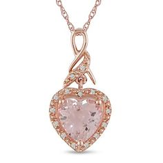"""1-3/4 ct.t.w. Morganite and Single-Cut Diamond Accent Heart Pendant in 10k Pink Gold, 17"""" for sale"""