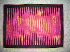 """Wayne's Quilts: 3D / Op Art 3D Tucks #1 Although I have made many faux 3D quilts, this is actually the first real 3D quilt! That is, sandwiched between each vertical strip is another strip. This """"tuck"""" strip has black fabric on one side and a second fabric on the other. The second fabric is cut from a piece of fabric which is dyed from purple to yellow and back again across its width.After all of the strips and tucks have been sewn, the tucks are ironed against the seam line so that they pop…"""