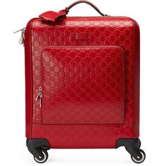 Gucci GG Signature Carry-On Trolley (14.130 BRL) ❤ liked on Polyvore featuring bags, luggage and red