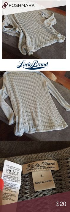Lucky Brand Gray Loose Knit Long Sleeve Sweater Lucky Brand Gray Loose Knit Long Sleeve Sweater. 22 inch bust. 27 inches long. Worn just a couple of times. Excellent condition. Feel free to make an offer or bundle & save! Lucky Brand Sweaters