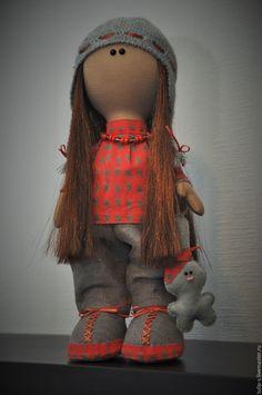 Купить Интерьерная кукла - серый, кукла ручной работы, Снежка, большеножка, зайка, хлопковая ткань