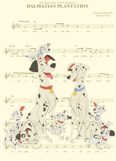 101 Dalmatians Music Sheet Art Print by AmourPrints on Etsy