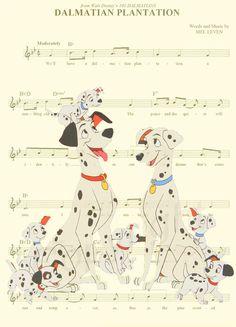 101 Dalmatians Music Sheet Art Print by AmourPrints on Etsy