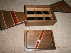 Swivel lid jewelry box with insertable shallow tray. Made from Ohia, Jacaranda, and bloodwood.