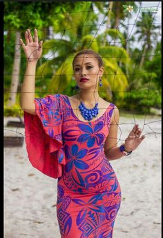 New with printed logo. Watermelon long ress printed in blue and violet. Available in all sizes and orders Model - Leemo Aoina Makeup - Setting - Photography - David Unoi Island Wear, Island Outfit, Island Style Clothing, Hawaiian Wear, Polynesian Designs, Dress Patterns, African Fashion, Designer Dresses, Fashion Dresses