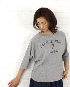 7th GATEコットン ロゴプリント ドルマン Tシャツ