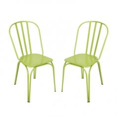 Adeco Green Metal Chair - CH0221-2 | adecotrading.com