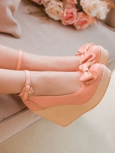 Simply Gorgeous Bow Embellished Pink Wedge Shoes