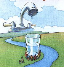 Graphic showing glass of water held up by people next to a river with a water faucet over the glass