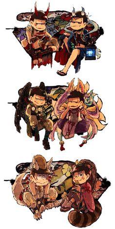 Ảnh Osomatsu-san ( List AUs) - youkaimatsu - Page 3 - Wattpad Dark Anime Guys, Cute Anime Guys, Osomatsu San Doujinshi, Naruto Oc, Ichimatsu, Ship Art, My Favorite Image, Character Design Inspiration, Anime Art