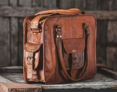 Leather Messenger Bag 18 / Brown Leather Briefcase / by EpicLinen