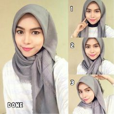This hijab style can be worn for any special occasion or event, it looks glamour. This hijab style can be worn for any special occasion or event, it looks glamourous especially usin Square Hijab Tutorial, Simple Hijab Tutorial, Hijab Simple, Hijab Style Tutorial, Tutorial Hijab Segi 4, Hijab Chic, Stylish Hijab, Islamic Fashion, Muslim Fashion