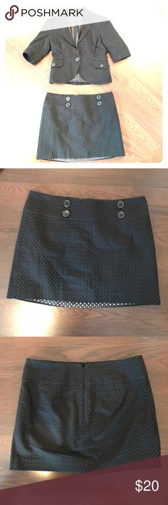 E X P R E S S  D E S I G N  S T U D I O Black quilted skirt and blazer set with white polka dots   Great used condition! All buttons in tact Express Design Studio Other