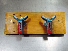 Coathooks made from upcycled repurposed ski bindings.