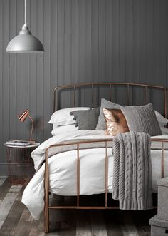 Copper and Grey Bedroom