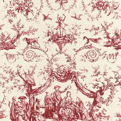 """Large pattern repeat in this fabric!  LE COURONNEMENT DE LA ROSIERE COLOR: ROUGE  175270  HORIZONTAL REPEAT 33"""" (84CM) MATCH HALF DROP VERTICAL REPEAT 37 1/4"""" (95CM) CONTENT 100% COTTON WIDTH 66"""" WIDE (168CM)"""
