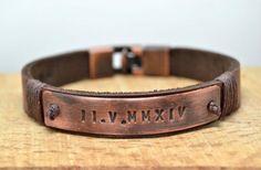 Mensleather,Men bracelet,Men leather bracelet,Mens Leather bracelet,Unisex,id bracelet,Roman numeral,unique mens gifts,Valentines day gift