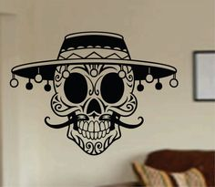 Hey, I found this really awesome Etsy listing at https://www.etsy.com/listing/185107396/mustache-day-of-the-dead-skull-wall