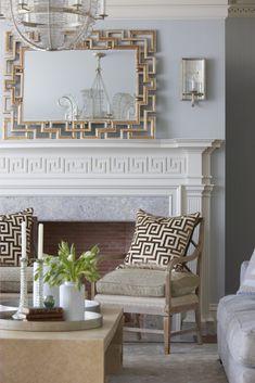 Modern Decorative Patterns, Meander Designs Adding Greek Style to Interior Decorating Gray Interior, Modern Interior Design, Grey Furniture, Furniture Design, Greek Decor, Fireplace Design, Colorful Interiors, Decoration, Living Room Decor
