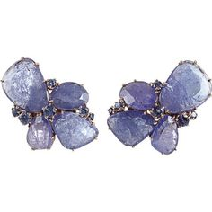 http://rubies.work/1025-sapphire-ring/ Federica Rettore Tanzanite And Sapphire Cluster Earrings ($17,325) found on Polyvore featuring jewelry,