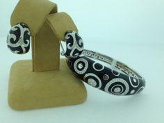 Black enameled bangle bracelet with matching earrings. #jrfoxjewlers