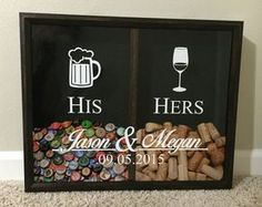 Mr and Mrs Wine Cork and Beer Cap Tab Holder, His and Hers, Wedding Gift Idea, Personalized Herr und Frau Wein Kork und Registerkarte Kappenhalter Bier Wedding Anniversary Gifts, Wedding Gifts, Beer Wedding, Anniversary Ideas, Wedding Book, Wedding Favors, Wedding Ceremony, Wedding Venues, Wedding Ideas