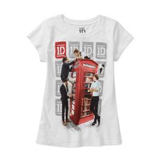 One Direction Girls' Phone Booth Graphic Tee (7.13 AUD) ❤ liked on Polyvore featuring tops and t-shirts