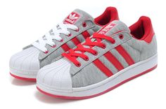 Adidas Superstar Shoes Red Grey Adidas Superstar, Adidas Fashion, Fashion Shoes, Snicker Shoes, Adidas Official, Sneaker Games, Superstars Shoes, Adidas Sport, Green Shoes