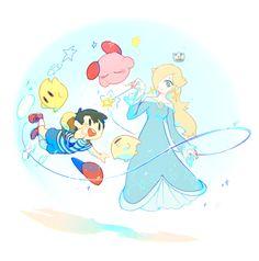 Ness, Rosalina, 2 Lumas and Kirby floating thanks to the magic of Rosalina.