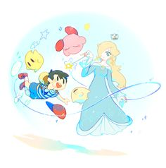 Ness, Rosalina, 2 Lumas and Kirby floating thanks to the magic of Rosalina.