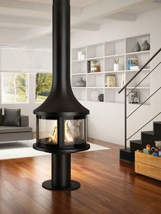 Central #fireplace with panoramic glass LEA 998 by JC Bordelet Industries   #design Jean Claude Bordelet