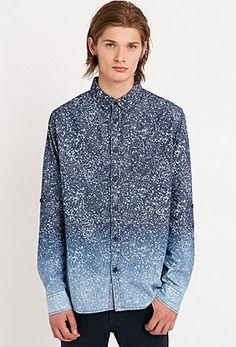 Anerkjendt Ole Fade Dye Print Shirt in Navy - Urban Outfitters