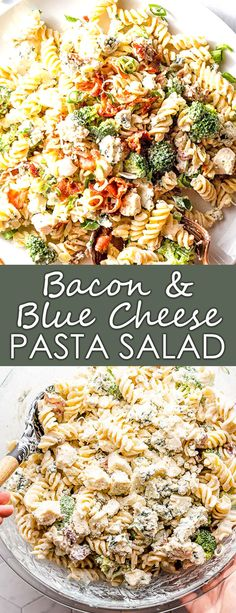 This is a boldly flavored pasta salad with crumbled bacon and blue cheese, plus green onion and broccoli, all tossed in a creamy dressing. This creamy pasta salad would be fun as a picnic side dish or to serve at a barbecue!