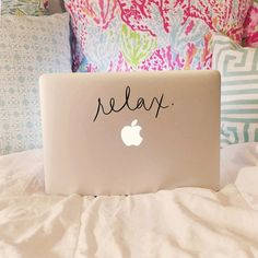3 x 7 inch laptop decal  relax.  Semi-permanent high-quality vinyl in your choice of color  Comes with detailed instructions on how to apply!  If