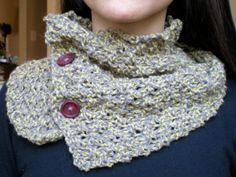 Knit Cowl in Gray & Citron | Two of A Kind