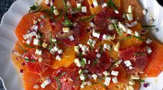 Mixed citrus w mint and feta cheese salad. Pretty prep method for the citrus.