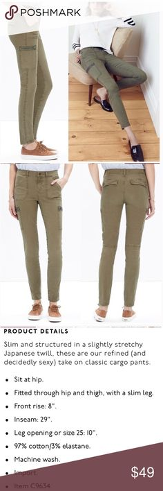 Madewell Cargo Pants Comfortable and stretchy army green pants by Madewell. Worn, still great condition. LJ4 Madewell Pants