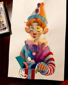 Clown boy in progress I've been really busy with school so this is the only thing I've been able to work on all week sorry for no updates peeps. Pretty Art, Cute Art, Character Illustration, Illustration Art, Posca Marker, Clown Paintings, Posca Art, Arte Sketchbook, Art Model
