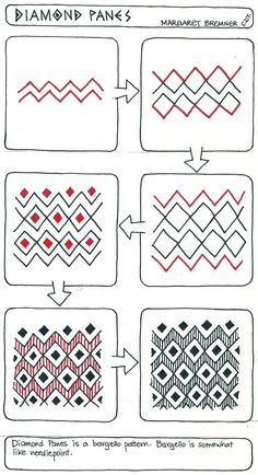 Enthusiastic Artist: DIAMOND PANES tangle instructions