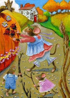 Mice Pumpkin Bird Ladybugs Trees Autumn Landscape ACEO Original Art Painting #Realism