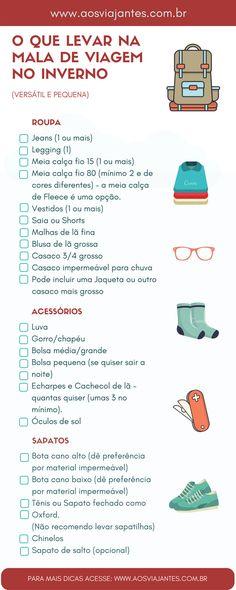 Lista do que levar em mala de inverno ou lugar frio. Para mais informações e detalhes acesse o blog www.aosviajantes.com.br !