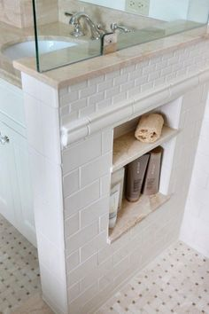 Shower Niche - indispensable for keeping the shower from getting completely cluttered with stuff. Done right with a solid surface for the ledges. via Houzz. traditional - bathroom - chicago - Normandy Remodeling - Home Decoz Diy Bathroom, Traditional Bathroom, Diy Bathroom Decor, Bathroom Inspiration, Small Bathroom Remodel, Shower Niche, Bathrooms Remodel, Bathroom Makeover, Diy Bathroom Makeover