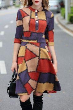 AdoreWe - Dezzal Color Block Knee Length Suede Dress - AdoreWe.com